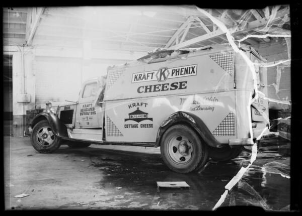 Wrecked trucks, Southern California, 1936