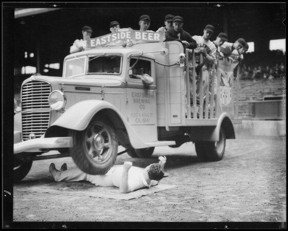 Eastside truck running over Galen Gough at Wrigley Field, Los Angeles, CA, 1935