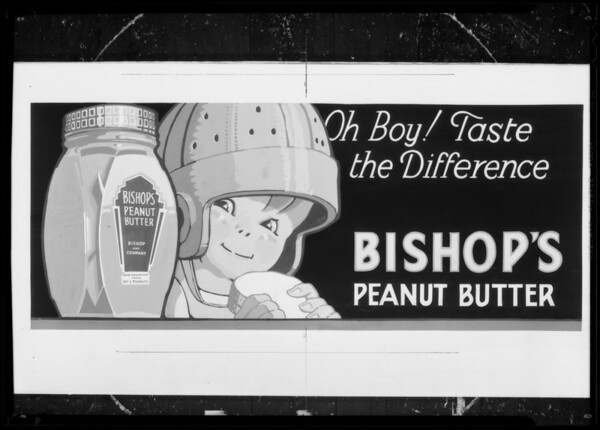 Bishop's Peanut Butter for lantern slide, Southern California, 1935