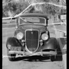 Berry vs Brubaker case, safety zone in front of 6151 Hollywood Boulevard, damaged car at 915 North Cordova - Burbank, Southern California, 1935