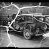 Wrecked Plymouth sedan, Sonia Feingersh owner, Southern California, 1936
