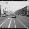 Damage to Gondeck car and 7th Street between Alvarado Street & Westlake, Los Angeles, CA, 1940