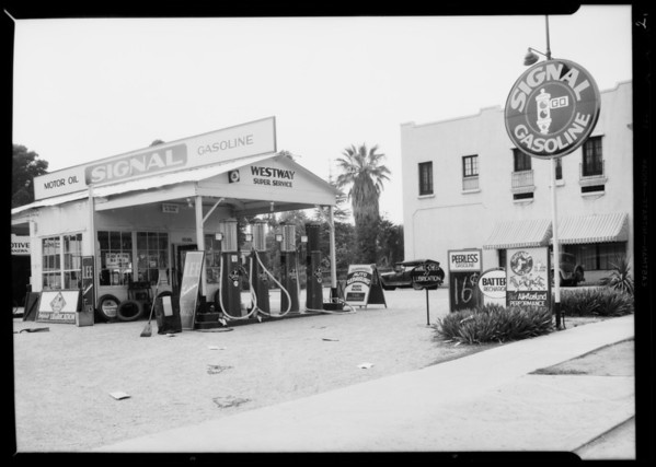 Dirty restroom & station, Southern California, 1935