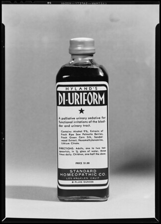 Bottle of Hyland's Di-Uriform, Southern California, 1940
