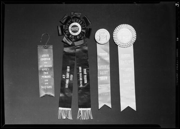 Award ribbons and medals, Southern California, 1940