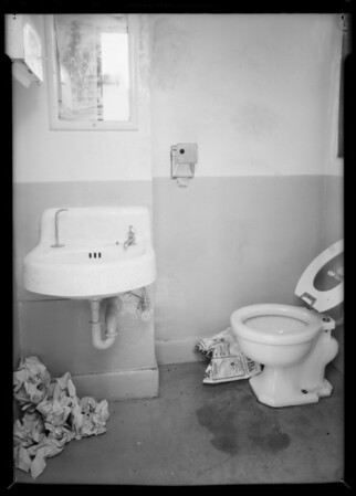 Dirty toilet in service station, Southern California, 1935