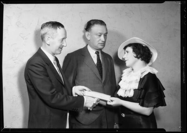 Mr. Karl & woman receiving check, Southern California, 1935