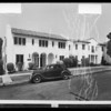 Apartment houses on North Ganfield Place for postcards, Southern California, 1935