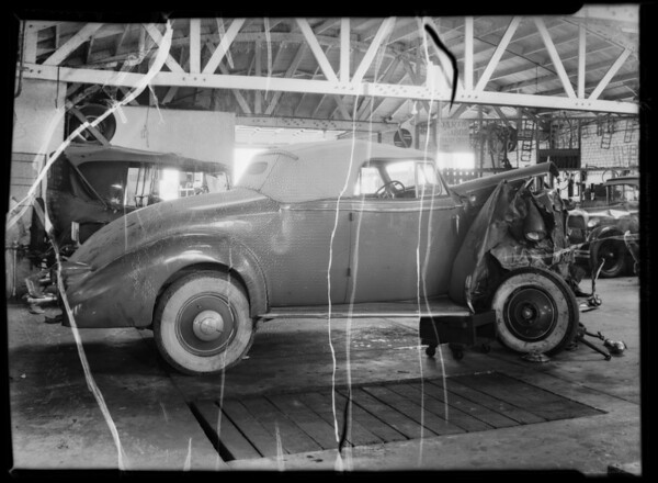 Wreck of Busby Berkeley's car and others, Southern California, 1935