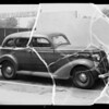 Damage on 1936 DeSoto sedan, Primo Tincin owner and assured, Southern California, 1936