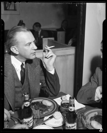 Dinner at Eleda Restaurant, 4296 Crenshaw Boulevard, Los Angeles, CA, 1940