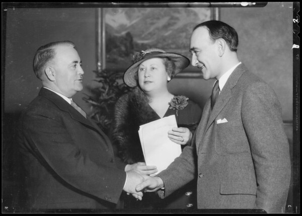 Mayor Shaw & Mrs. Irish, Southern California, 1935