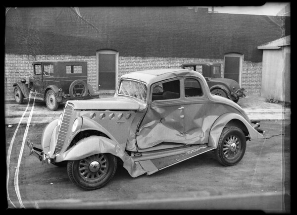 Wrecked Willys 77 coupe, M.H. Corkey, assured, Southern California, 1935