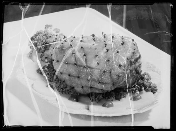 Baked ham, butter carton, pork loin, Southern California, 1936