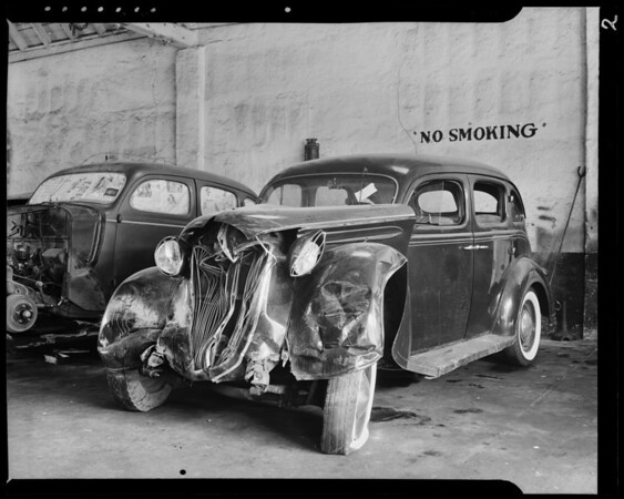 Ford sedan and Plymouth, Los Angeles, CA, 1940