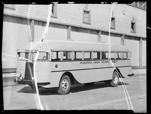 Placentia Union School District bus, Southern California, 1935