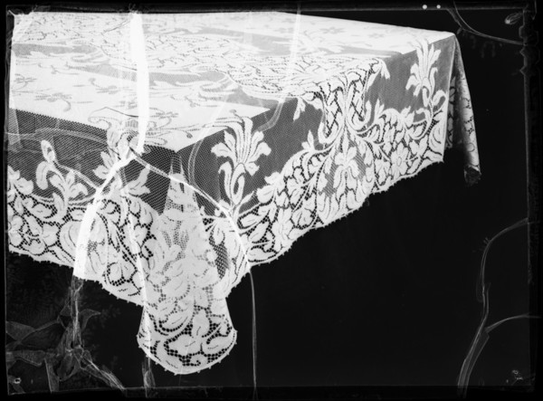 Lace table cloth, Southern California, 1935