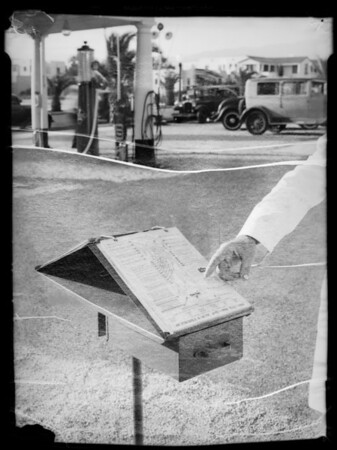 Chek chart at service station at Wilshire Boulevard and South Gale Drive, Beverly Hills, CA, 1935