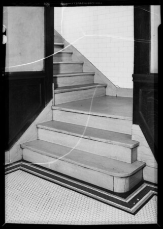 Steps in basement stairway of Clifton's Cafeteria, Los Angeles, CA, 1935