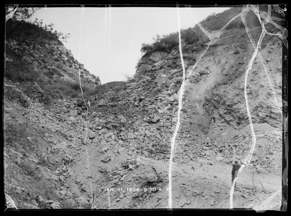 Quarry blast in Santa Monica Mountains, Southern California, 1936