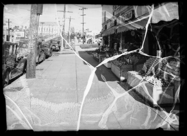 Sidewalk in front of Hala's Market, 4350 West Adams Boulevard, Los Angeles, CA, 1936