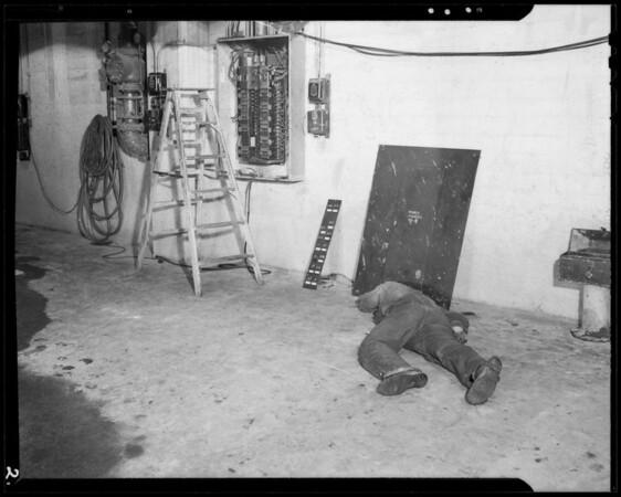 Switchboard in basement of U.S. Gypsum Co., Ralph Kearns vs. U.S. Gypsum Co., 8430 Quartz Street, South Gate, CA, 1940