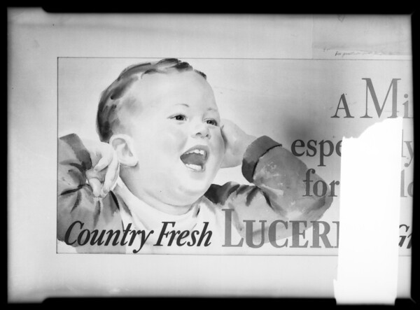 Lucerne Milk for lantern slide, Southern California, 1935