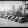 Line of cars from rear, Southern California, 1936