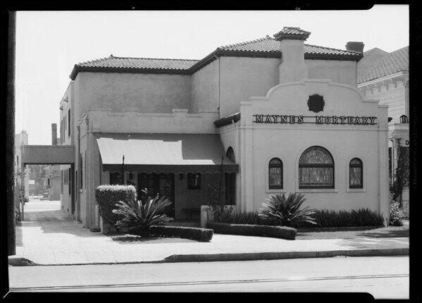 Exterior of building, Maynes Mortuary, 630 Venice Boulevard, Los Angeles, CA, 1935