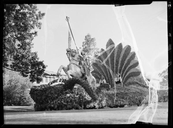 Joan of Arc float in Rose Parade, Pasadena, CA, 1936