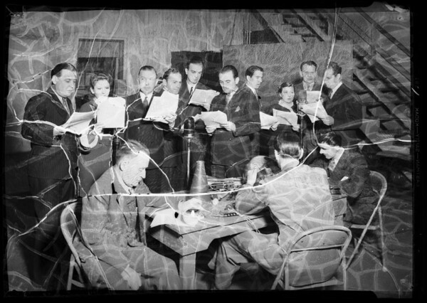 Radio cast in rehearsal, Southern California, 1936