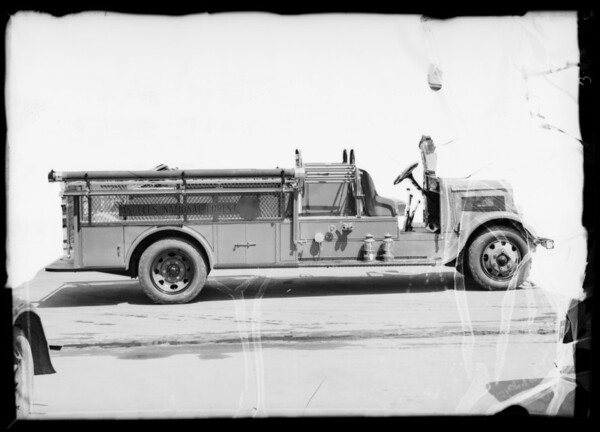 Angeles National Forest fire truck, Southern California, 1936