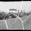 1933 Plymouth sedan, intersection of East Florence Avenue and Rita Avenue, Southern California, 1935