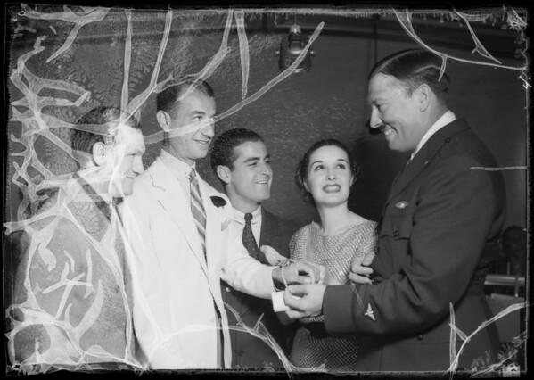 Victor Young, Roscoe Turner at Miramar Hotel, 101 Wilshire Boulevard, Santa Monica, CA, 1935