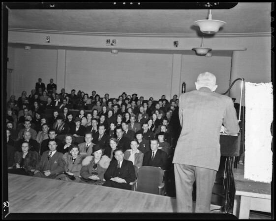 Stage and audience at KECA, Los Angeles, CA, 1940