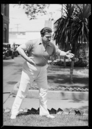 Publicity at brewery with Galen Gough, Southern California, 1935
