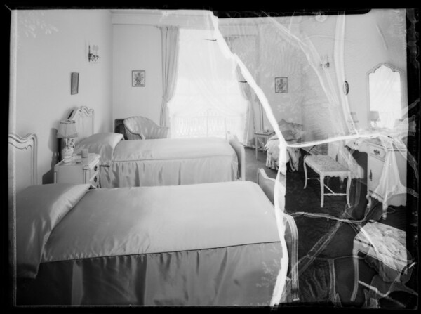 Bedroom and bathroom, Southern California, 1935