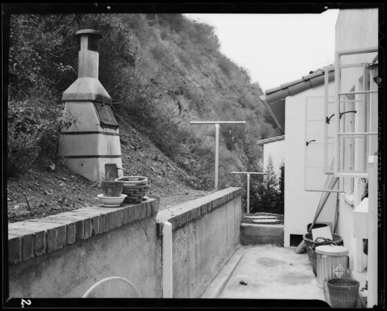 Retaining wall and incinerator at 2070 Outpost Drive, Los Angeles, 1940