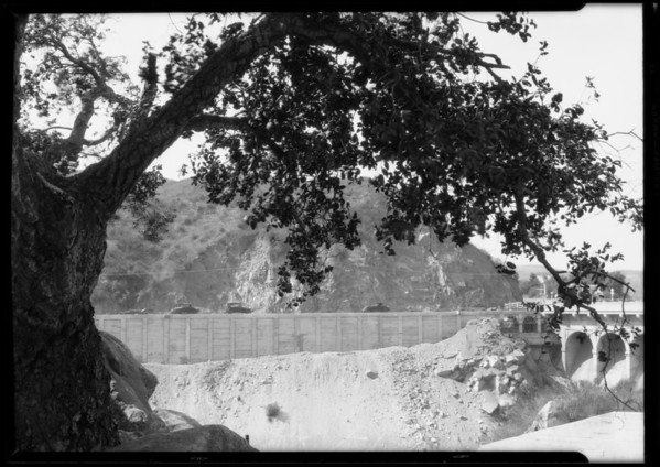 Retaining wall at Devil's Gate Dam, Pasadena, CA, 1926