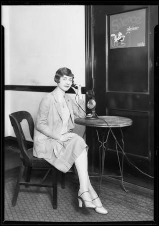 Kay Hammond at telephone, Southern California, 1927