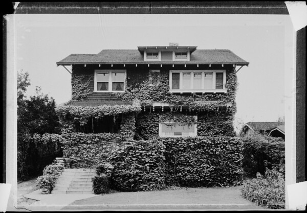 Exterior of home for Christmas cards, Southern California, 1935
