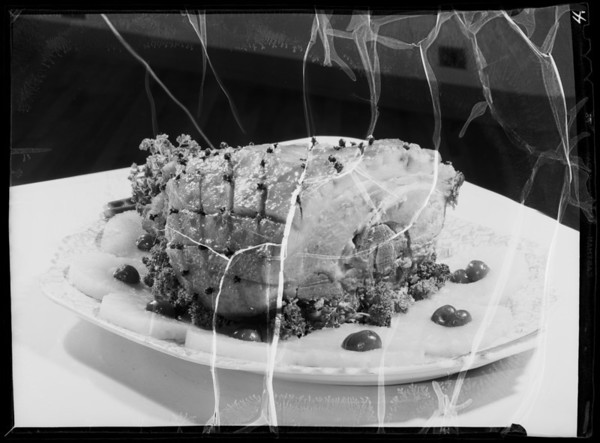 Baked ham, butter carton, pork loin, Southern California, 1936
