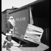 Santa Claus at railroad yard, Southern California, 1926