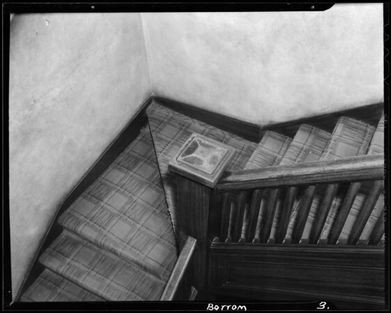 Stairway in apartment house at 632 South Bixel Street, Los Angeles, CA, 1940