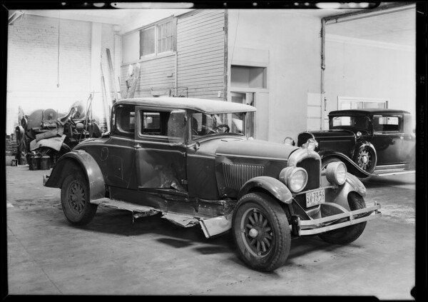 Wrecked REO coupe at Greer Robbins, Southern California, 1930