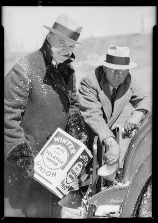 Snow scenes with Nash and Barney Oldfield, Southern California, 1931