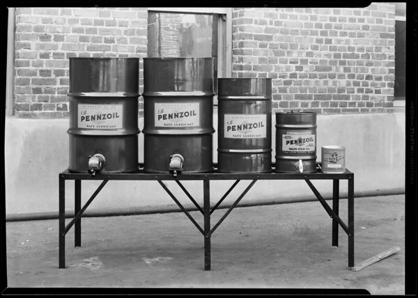 Oil tanks and rack, Pennzoil, Southern California, 1930