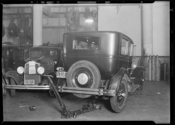 Packard sedan #2N9205 belonging to Gibson in Union Auto Insurance garage, Southern California, 1930