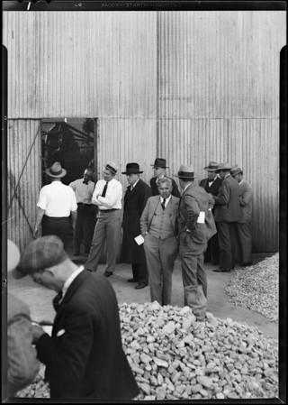 Test on rock crushing machine, Baash - Ross Tool Co., Southern California, 1930