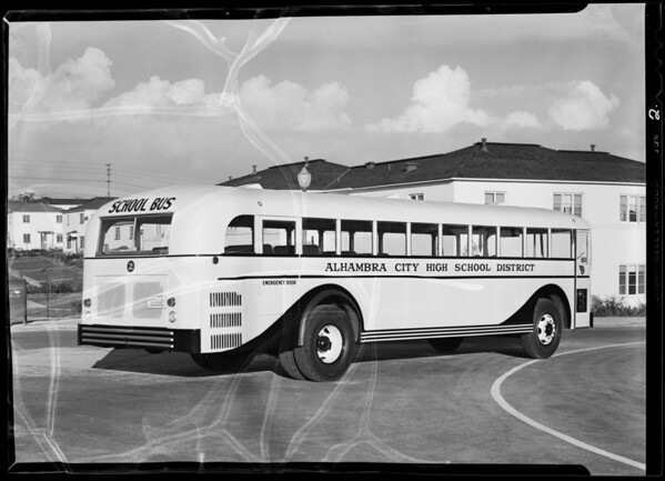 Alhambra High School bus, Southern California, 1940